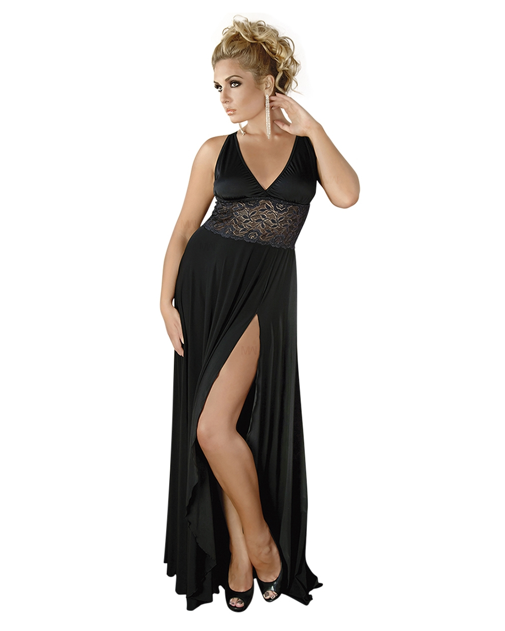 schwarzes langes Kleid M/19 mit Spitze von Andalea - 19 bis 19